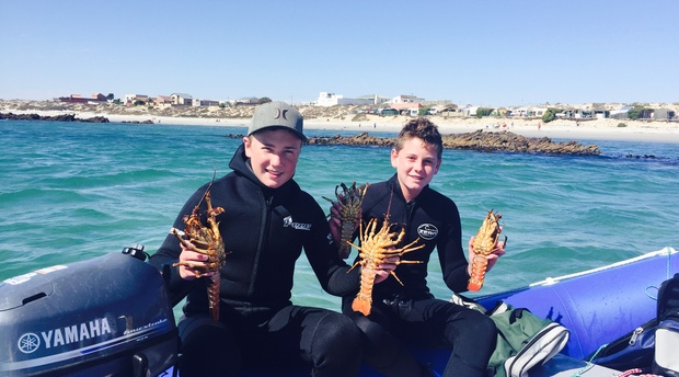 Lovely crayfish!!  Our youngest son GJ and his friend Dillan with the catch of the day!